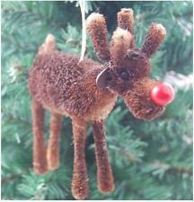 Gisela Graham Christmas Decoration - Bristle Red Nose Reindeer - Tree Decoration