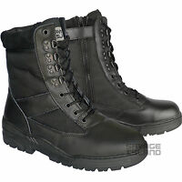 Black Leather Side Zip Army Patrol Combat Boots Tactical Cadet Security Military