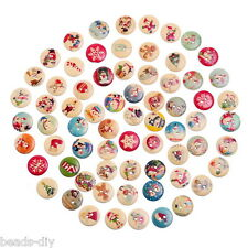 BD  100PCs Mixed Christmas Pattern Sewing Wooden Buttons DIY Scrapbook Ornaments