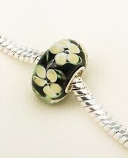 Yellow Hibiscus Flower 925 Silver Core High Quality Glass Bead Charm UK