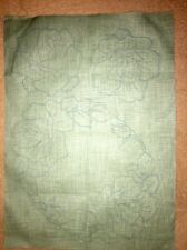 VINTAGE GOOD QUALITY GREEN LINEN FABRIC WITH TRANSFERS FOR EMBROIDERY-THREE MATS