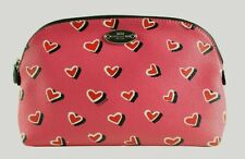 Coach Pink Heart Multicolor Heart Print Cosmetic Bag-52685-NWT
