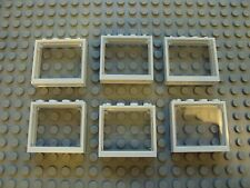 Lego Minifig ~ Lot Of 6 Windows Trans Clear Panel w/White Frames House Cottage x