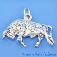 BULL TAURUS ZODIAC SIGN 3D .925 Solid Sterling Silver Charm Pendant