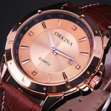 Orkina Elegant Men Rose Gold Dial Date Leather Band Analog Sport Wrist Watch