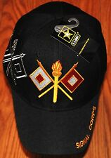 New Black US Army Signal Corps Hat Ball Cap Watchful for the Country Military