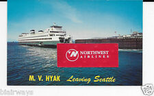 WASHINGTON STATE FERRIES M.V. HYAK LEAVING SEATTLE IN 1960'S POSTCARD