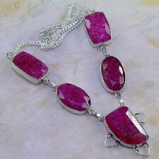 "Handmade Cherry Ruby Natural Gemstone 925 Sterling Silver Necklace 18.5"" #K49415"