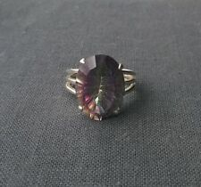 Amazing Larger 925 Sterling silver Mystic Fire Topaz big carat stone ring size O