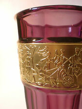 60s Vase Amethyst Walther Glas 24 cm Goldfries Art Deco Fipop Stil gilded glass