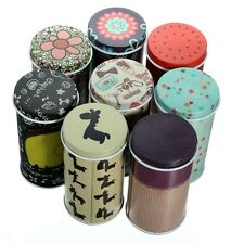 Small Iron Tea Roll Coin Storage Memo Note Trinket Tin Jewelry Cylinder Box Case