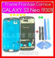 FRAME TELAIO ANTERIORE CORNICE ARGENTO+Kit UTENSILI SAMSUNG GALAXY S3 Neo I9301I