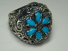 STERLING SILVER CAROLYN POLLACK SLEEPING BEAUTY TURQUOISE FLOWER RING SIZE 8