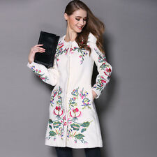 Womens chic cashmere wool blend embroidered trench outwear long jacket coat