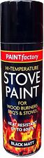 Heat Resistant Matt Black Spray Paint Stove High Temperature 200ML New
