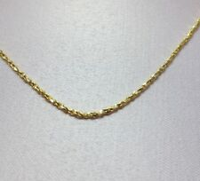 16 INCH 14KT GOLD EP 1mm SPARKLING TWISTED COBRA COMFORTABLE CHAIN NECKLACE