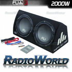 "FU12 FLI 12"" Twin Active Sub Subwoofer & Amp Amplifier in Box / Enclosure 2000w"