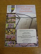 12/05/2013 Football Programme: Surrey County Youth And Girls Cup Finals - U10 Yo