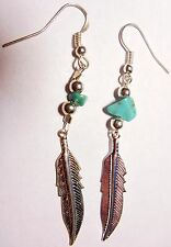 """Navajo Sterling Silver 1¼"""" Feather Earrings Turquoise by Roseanne Manygoats"""