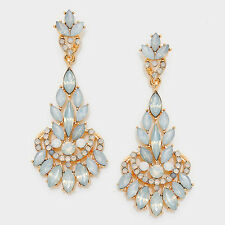 GLAM Statement Gold White Opal Crystal BIG Cocktail Earrings By Rocks Boutique