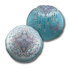 Large Round Mandala Dreamcatcher Cushion Velvet Throw Bed Lounge Lisa Pollock