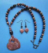 Lovely Picasso Jasper Heart Gemstone Pendant Necklace Set - Excellent Markings