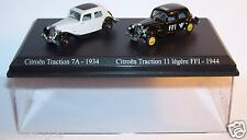 COFFRET ATLAS DUO 2 METAL UH CITROEN TRACTION 7A 1934 FFI 11 LEGERE 1944 HO 1/87