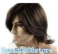 Fashion sexy Men's man Medium short Dark Brown Cosplay Natural Hair Wigs+wig cap