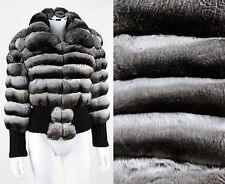 "MUSI ""DIANA"" GENUINE CHINCHILLA FUR BOMBER JACKET COAT Size 8"
