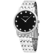 Bulova Diamond Collection Black Dial Stainless Steel Men's Watch 96D106