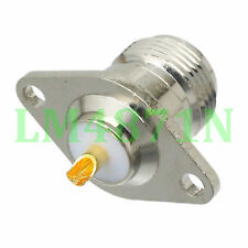 Connector N female 2-hole rhombic flange solder cup panel antenna mount socket