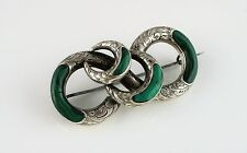 Beautiful Fine Antique Victorian Silver Scottish Malachite Agate Brooch / Pin