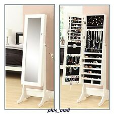 Mirror Jewelry Cabinet Storage Stand 48 Hook Hanger Earring slot Holder Shelf