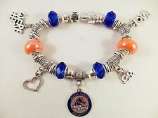 BOISE STATE BRONCOS NCAA Licensed Charm Silver Bracelet Team BLUE GLASS BEADS
