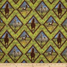 Fabric Western Horses in Diamond Pattern on Green Grass Cotton by the 1/2 Yd BIN