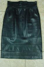 ESCADA MARGARETHA LEY Vtg 1980s leather navy blue high waist pencil skirt sz 38