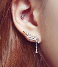 Trendy Silver Plated Ear Cuff Clip Earrings Sweep Wrap Branch Leaf Climber Rings
