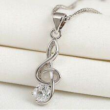 Women's Silver plated Fashion Wedding Music Note Charms Pendant Necklace Jewelry