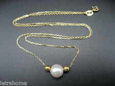 "18"" 18k Solid Gold AAA Round White 8mm Akoya Cultured Sea Pearl Necklace Gift"