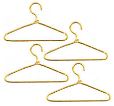 4 Gold Wire Clothes Hangers, Dolls House Clothing Accessory, Miniature