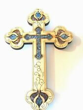 Hanging Wooden Cross with Semi Precious Stones from HOLYLAND Jerusalem wood new