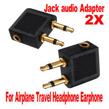 2 Pcs Airplane Airline Headphone Earphone Jack Audio Adapter 3.5mm to 2 x 3.5mm