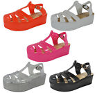 NEW WOMENS LADIES ANKLE FLAT STRAP BUCKLE CHUNKY SANDALS SHOE SANDAL SIZE 3-8 UK