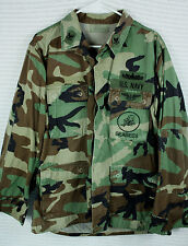 Vintage US Navy Seabees BDU Uniform Shirt Jacket Woodland Camo Patches Sz M Reg