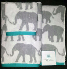 NEW PERI ELEPHANTS HAND WASH BATH 3 COTTON TOWELS SET TURQUOISE AQUA GRAY DECOR