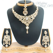 Diamante Indian Wedding Jewelry Necklace Set Earrings Tikka Bridal Party NS01G