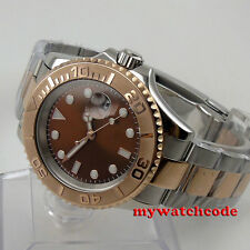 40mm parnis brown sterile dial sapphire crystal date automatic mens watch P84