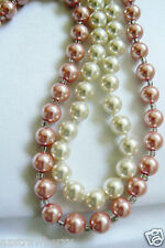 """Lot of 2 White & Pink pearl faux 9 mm necklaces 19"""" & 18"""" L"""