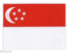 "Singapore (embroidered) Country Flag Patch 12 X 9CM (4 3/4"" X 3-1/2"") approx"