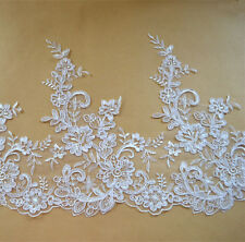 Bridal Embroidered Lace Trimming Ribbon Ivory Corded Floral Wedding Edging 10.7""